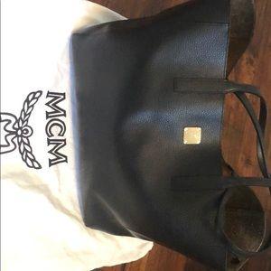 MCM Big Black Leather Wandel Shopper Sac Emplettes